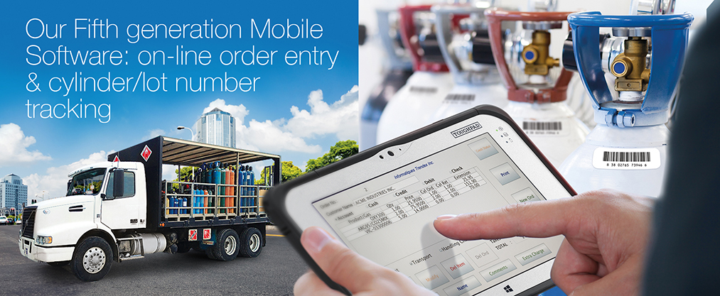 Our Fifth generation Mobile Software: on-line order entry & cylinder/lot number tracking.